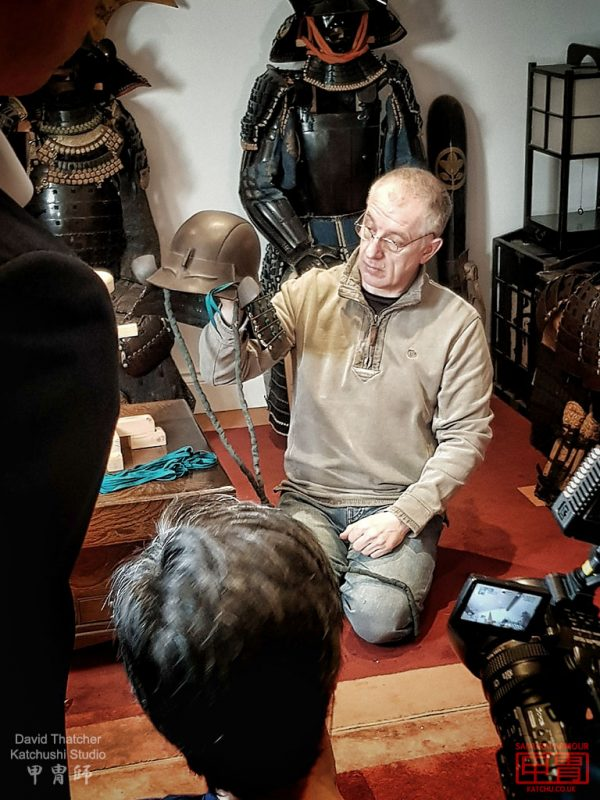 Filming at my samurai armour odoshi studio